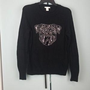 H&M Pug black sweater size XS -B1